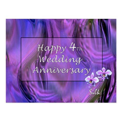 Happy 4th Wedding Anniversary Postcard  Zazzle