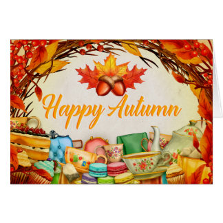 Happy Autumn (Leaves, Cake, Tea) Greeting Card
