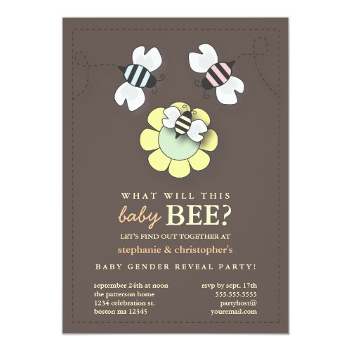 Happy Bee Family Couples Baby Gender Reveal Party Invitation