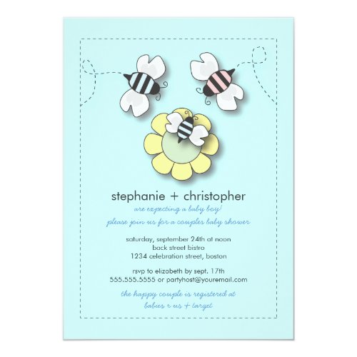 Happy Bee Family Couples Baby Shower for Boy Invitation