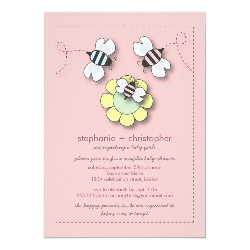 Happy Bee Family Couples Baby Shower for Girl Invitation