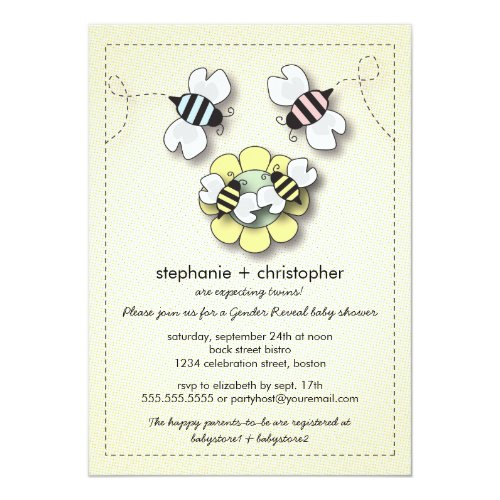 Happy Bee Family Couples Twins Baby Shower Invitation