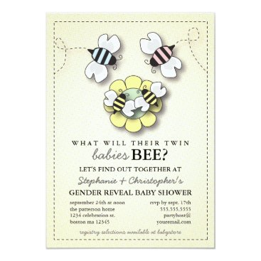 Happy Bee Family Twins Gender Reveal Baby Shower Invitation