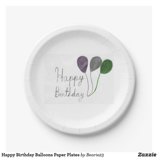 Happy Birthday Balloons Paper Plates