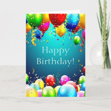 Happy Birthday - Blue Colored Balloons - Customize Card