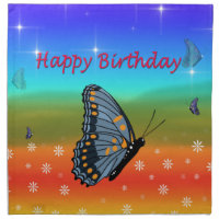 Happy Birthday Butterfly Cloth Napkin