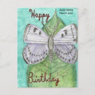 Happy Birthday Butterfly Postcard by Julia Hanna