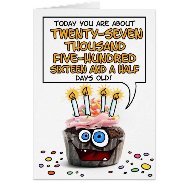 Happy Birthday Cupcake 75 Years Old Card
