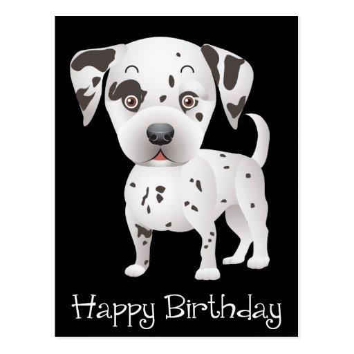 Happy Birthday Dalmatian Puppy Dog Black Postcard Zazzle