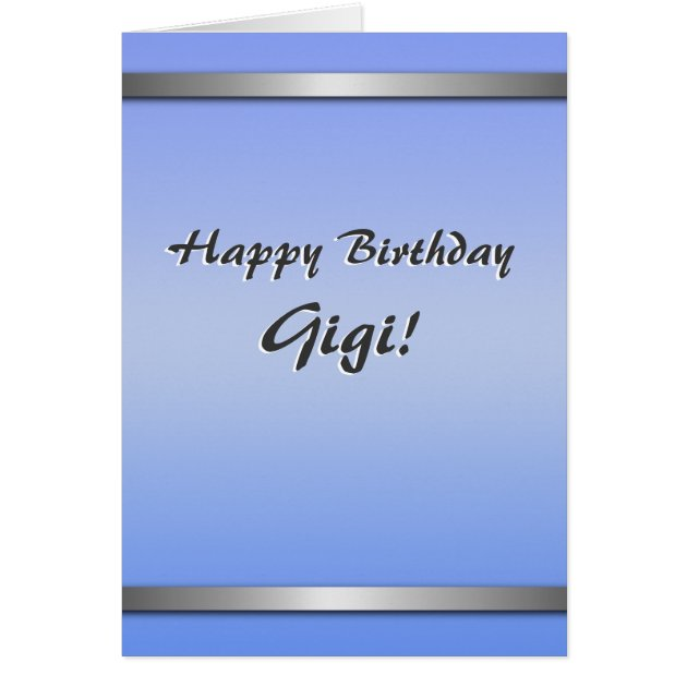 Happy Birthday Gigi Card Simple Blank On Inside