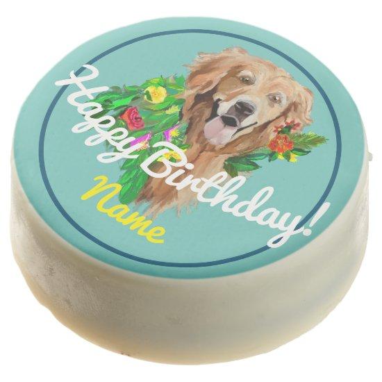 Happy Birthday Golden Retriever Chocolate Covered Oreo