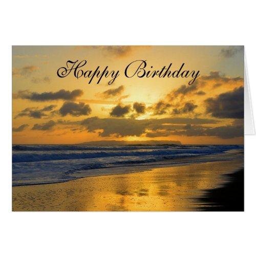 Happy Birthday, Kauai Beach Sunset Greeting Cards