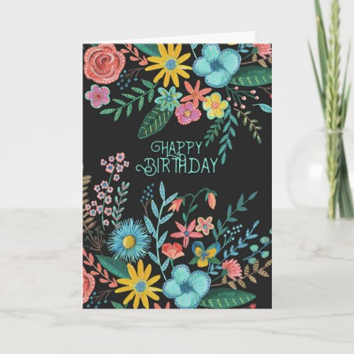 Happy Birthday Modern Flowers | Greeting Card