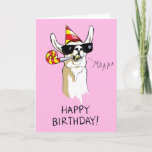 ❤️ Happy Birthday Party Llama Card with Sunglasses