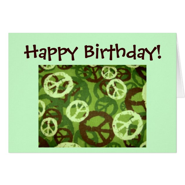 Happy Birthday! Peace Signs Camo Design Card Zazzle