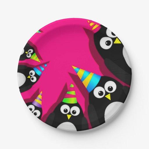 Happy Birthday Penguins Paper Plates