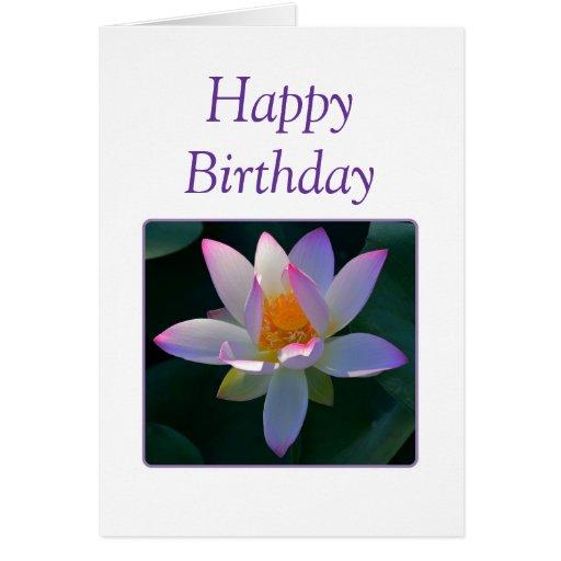 Happy Birthday Pink Lotus Flower Card Zazzle