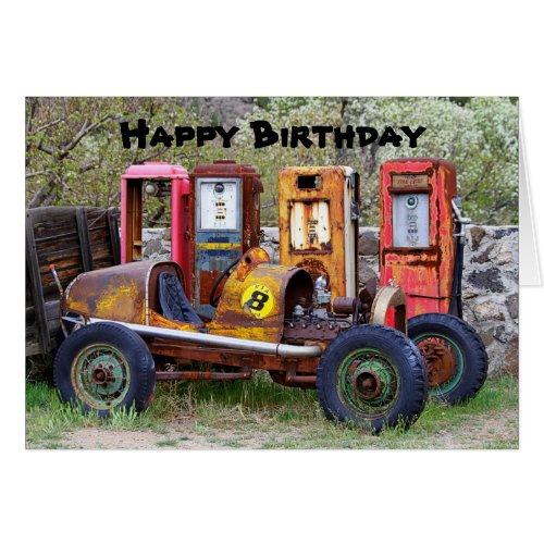 Happy Birthday Race Car Humor Greeting Card