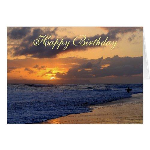 Happy Birthday, Surfer Kauai Beach Sunset