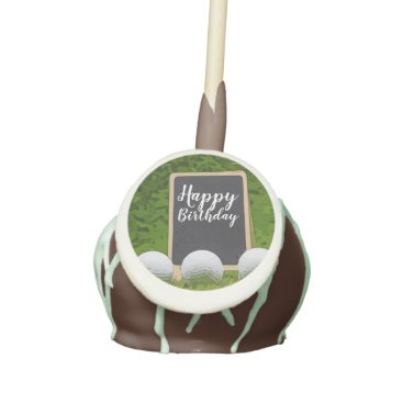 Happy Birthday to golfer with golf ball on green Cake Pops