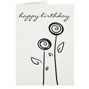 birthday happy drawing simple line greeting flowers cards