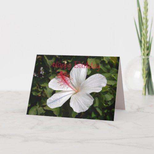 Happy Birthday White Hibiscus Card card