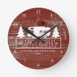 Happy Campers RV Camping | Red Rustic Barn Wood Round Clock