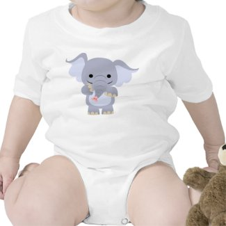 Happy Cartoon Elephant Baby Apparel shirt