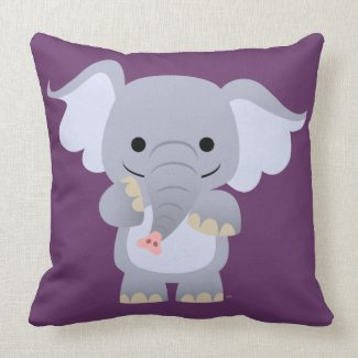 Happy Cartoon Elephant Pillow throwpillow