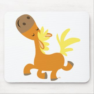 Happy Cartoon Pony T-shirt mousepad