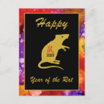 Happy Chinese New Year of the Rat 2020 Watercolor Holiday Postcard