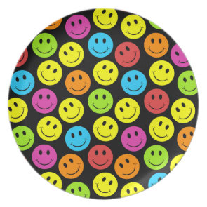Happy Colorful Smiley Faces Pattern Dinner Plates