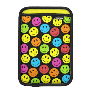 Happy Colorful Smiley Faces Pattern iPad Mini Sleeve