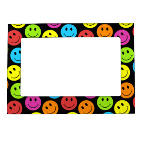 Happy Colorful Smiley Faces Pattern Photo Frame Magnets