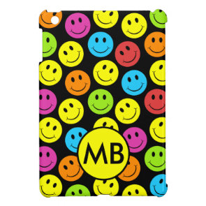 Happy Colorful Smiley Faces Pattern Personalize Cover For The iPad Mini