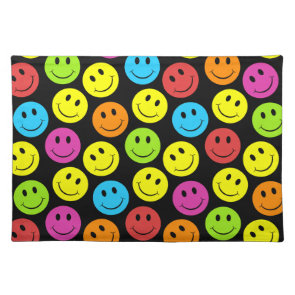Happy Colorful Smiley Faces Pattern Placemat