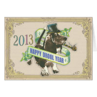 Happy Drool Year (New Years Basset card) Card
