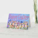 Fun Lots Of Happy Easter Bunnies Spring Greeting Card