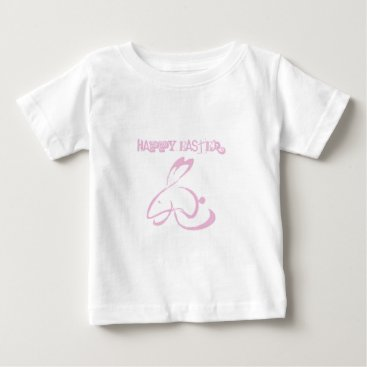 Happy Easter Bunny Pink Drawing Baby T-Shirt