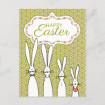 Fun Four Happy Rabbits Easter Card (Green