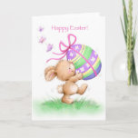 Happy Easter with rabbit holding painted egg Card
