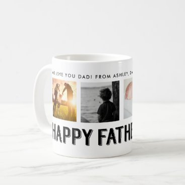 Happy Father's Day   Black and White 4 Photo Grid Coffee Mug