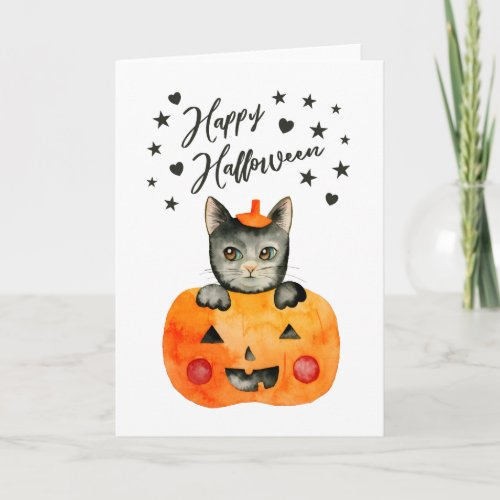 Happy Halloween | Black Cat in Jack O' Lantern Card