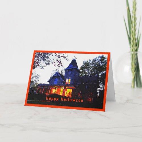 Happy Halloween Haunted House Greeting Card card