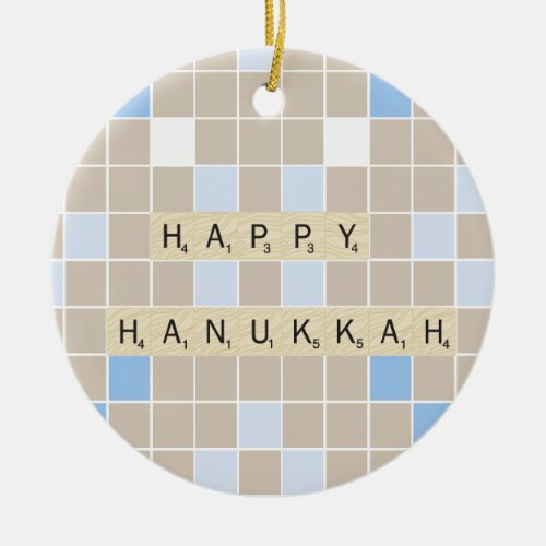 Happy Hannukah Ceramic Ornament