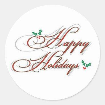 happy holidays classic round sticker