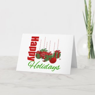 Happy Holidays Hanging Ornaments card