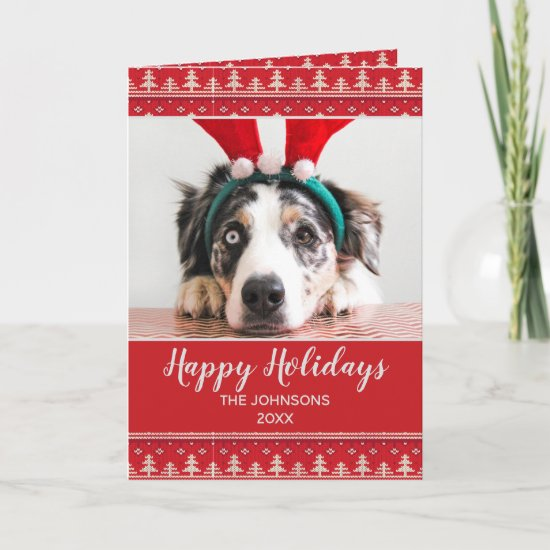 Happy Holidays Nordic Pattern Photo Greeting Card