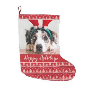 Happy Holidays Nordic Pattern Photo Large Christmas Stocking