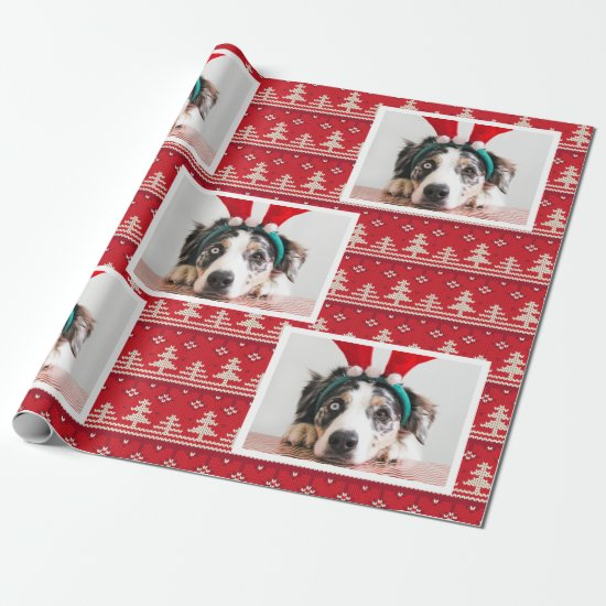Happy Holidays Nordic Pattern Photo Wrapping Paper